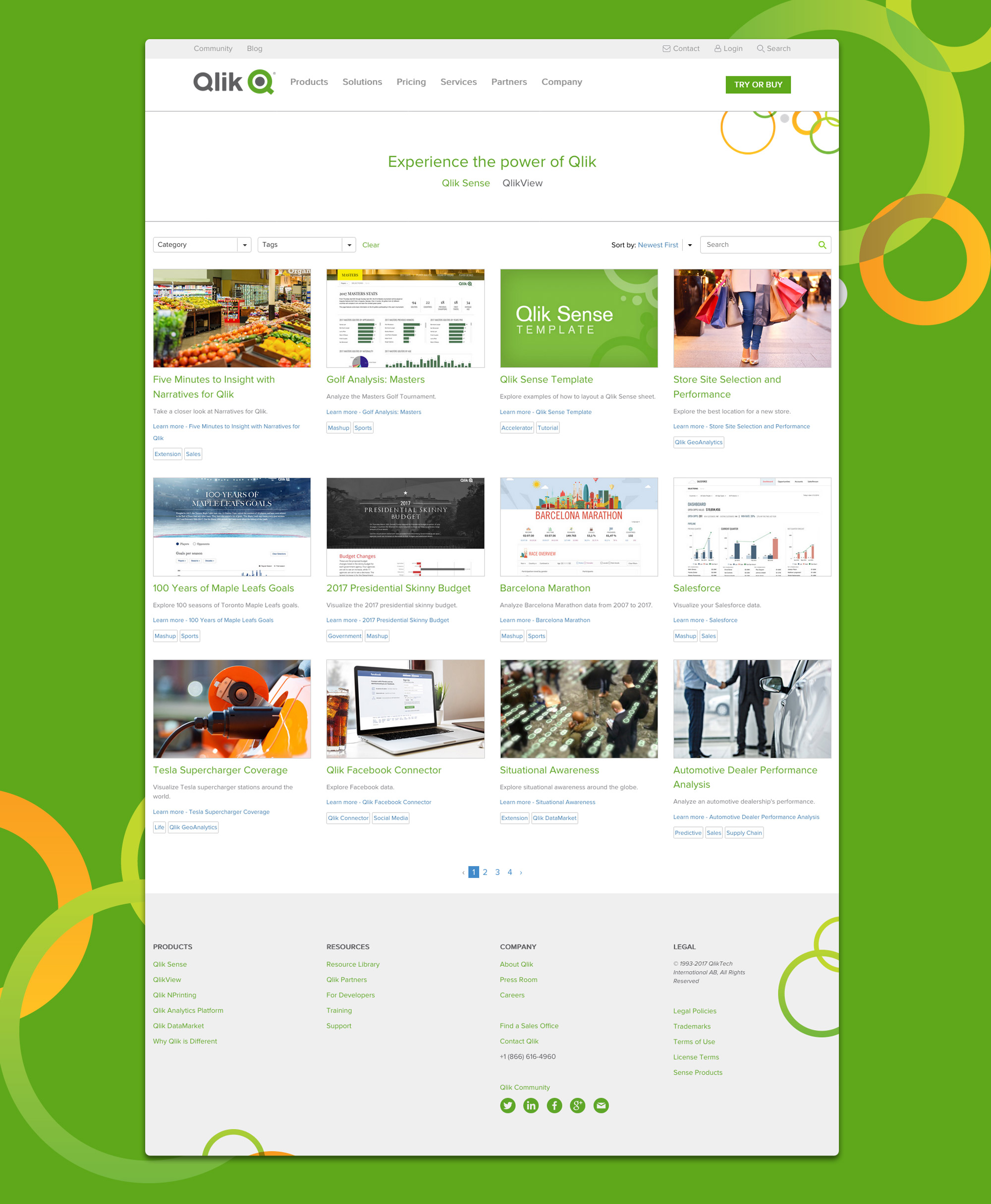 Qlik Demo Site gallery page