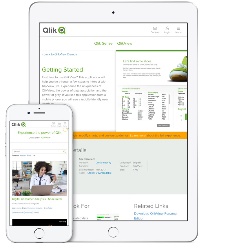 Qlik Demo Site on different mobile devices
