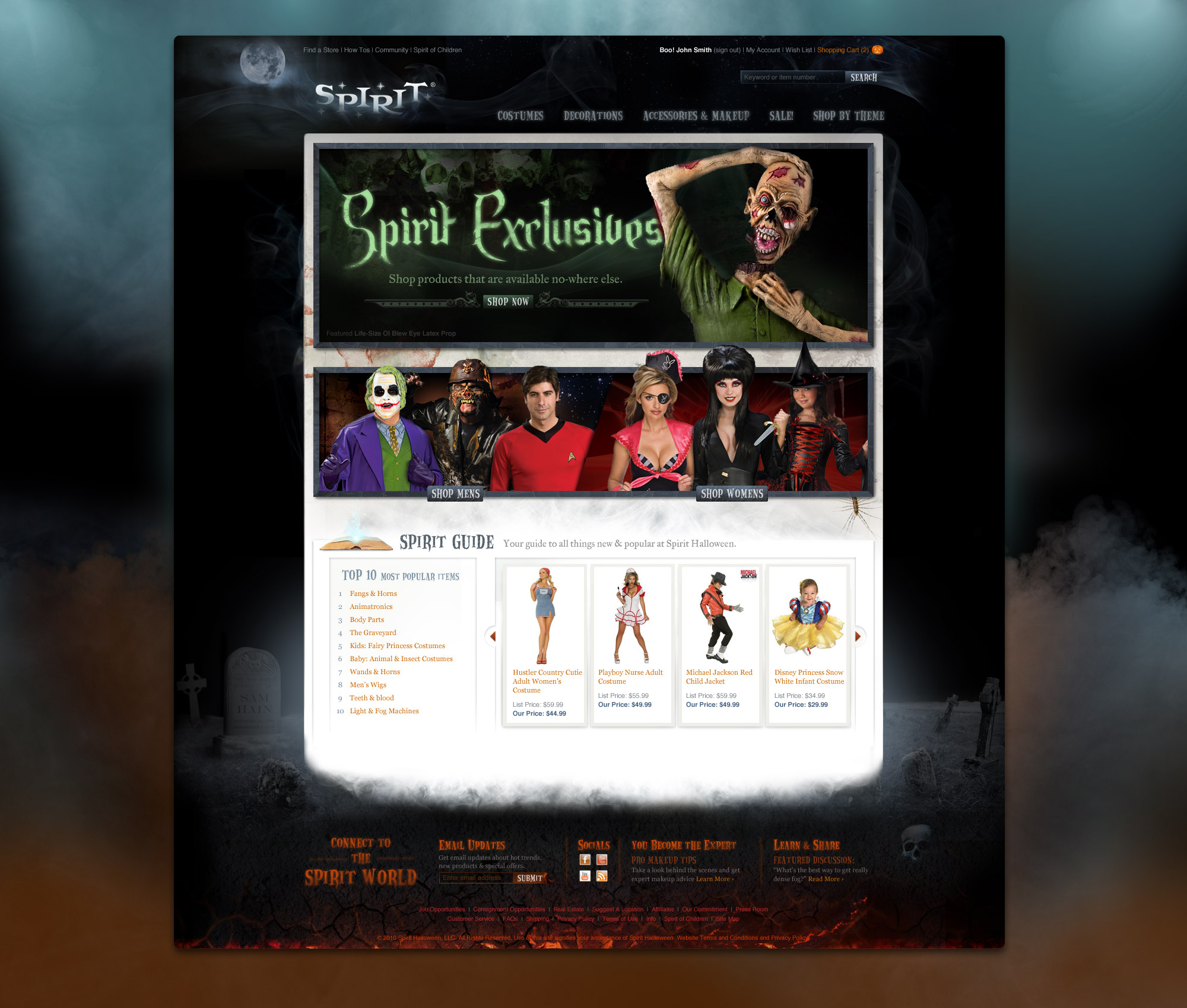 spirit halloween home page